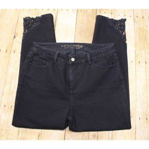 Soft Surroundings Womens Jeans 10p ankle lace trim